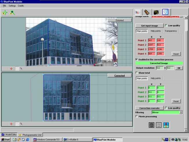 BluePrint Modeler - etap korekcji perspektywy na przykładzie ścian budynku Uniwersytetu Zielonogórskiego