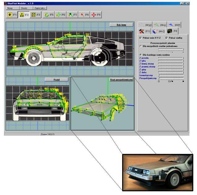 BluePrint Modeler - pierwsza wersja aplikacji z motywem DeLorean`a