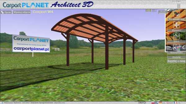 Carport Planet Architect 3D - wygląd aplikacji do błyskawicznego projektowania zadaszeń i wiat
