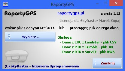 Wygląd okna programu do raportów GPS