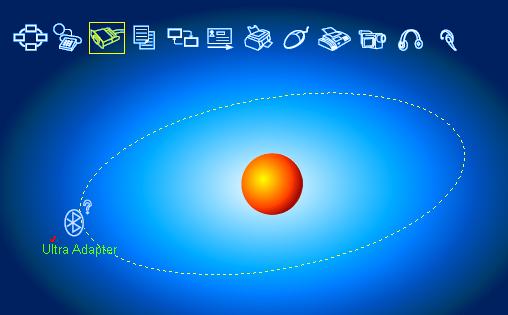 Zrzut ekranu często spotykanej aplikacji BlueSoleil, dostarczanej do przenośnych modułów Bluetooth